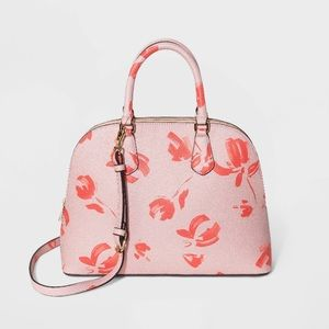 A New Day Floral Print Dome Satchel Handbag Coral